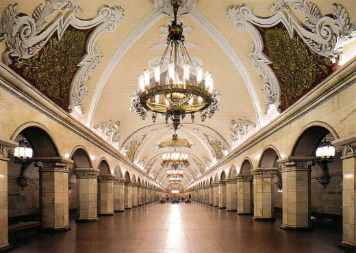 Although parts of Moscow appear to be purely for practicality, parts of Moscow's train stations hold beauty with vaulted ceiling and beautifully detailed moldings.