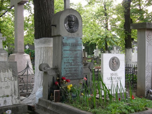 The grave of Mihai Eminescu, Romania's national poet. Belu Cemetery, Bucharest, Romania