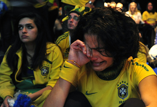 Brazil supporters at the 2010 World Cup in South Africa, after Brazil's defeat to Holland in the quarterfinals.