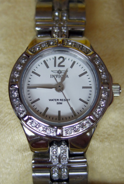 Here's a close-up picture of the face of the Invicta Women's Crystal Accented Watch.
