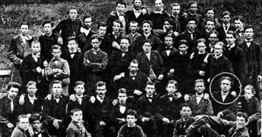 1864 graduates of Cernăuţi gymnasium. The young boy encircled could be Mihai Eminescu.