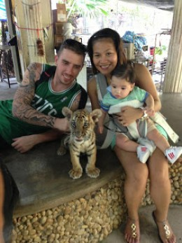Trent, Cheenee and Taidan, with tiger cub.