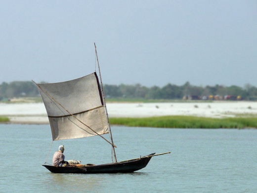A man on a boat in the river Padma (Ganges)