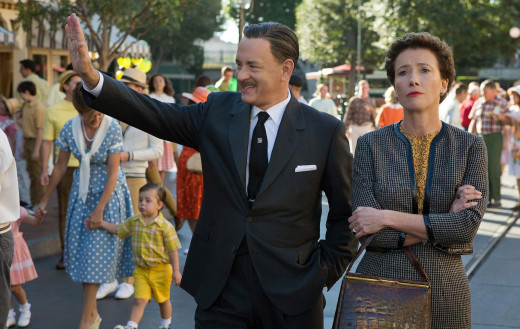 Tom Hanks and Emma Thompson as Walt Disney and P.L. Travers in the Disney film, Saving Mr. Banks.