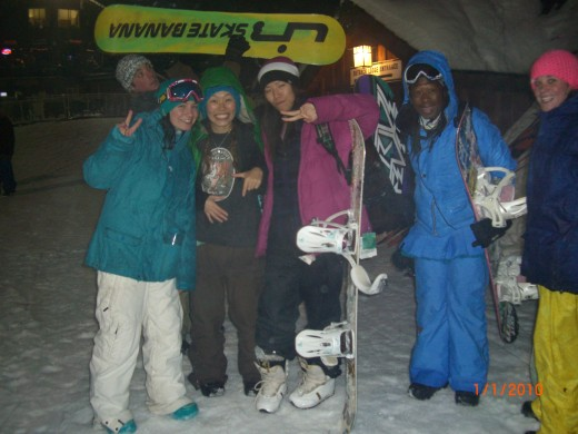 Halo, Ting, Kumi, myself, and Heidi at Ski Bowl on New Year;s Eve