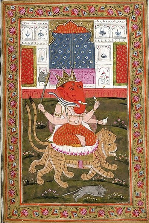 A miniature painting of Lord Ganesh. Here Ganesh is siting on 2 tigers.