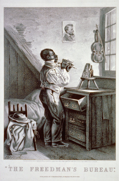 """Pun on the government agency assisting freed slaves after the American Civil War and the """"bureau"""" piece of furniture. New York : Published by Currier & Ives, c1868"""