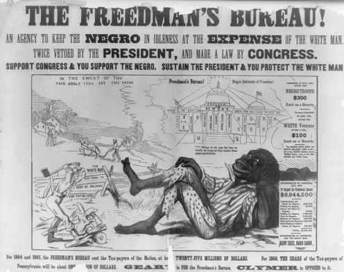 One in a series of racist posters used by the Democratic party, attacking Radical Republicans on the issue of black suffrage, issued during the Pennsylvania gubernatorial election of 1866.