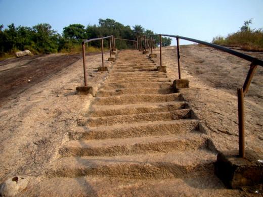 Rock-cut steps