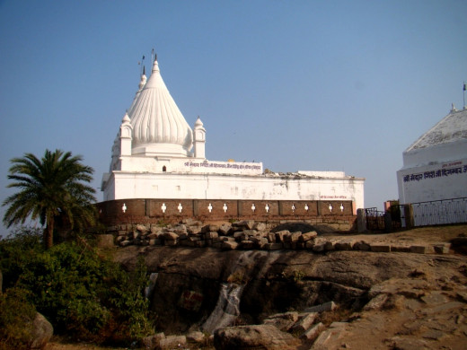 The temple of Digambar Jain at the top housing the statue of Lord Basupuj