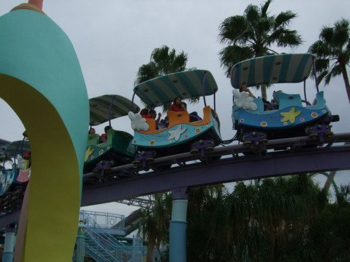 The Sky Trolley Train Ride was one of the most popular attractions in the Seuss Landing section of the park