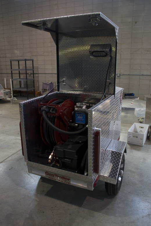 Pro 110 Industrial Gas trailer with a fuel transfer system.