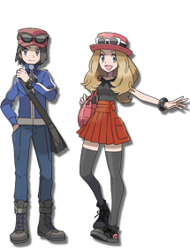 Official art of the protagonist, male (Calem) and female (Selena)
