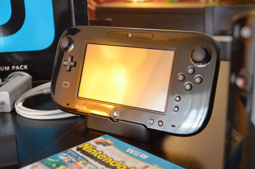 The Nintendo Wii U GamePad sitting on its stands.