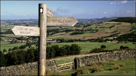 Cleveland Way signpost amid fine scenery
