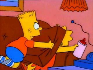 Bart tries to smother his sister in a rage.