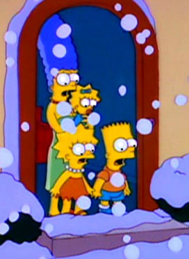The Simpson family waits for the patriarch to return home from the racetrack on Christmas eve.