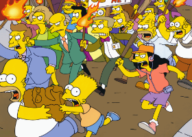 Homer and Bart try to flee from a vicious mob. Bart will not be so lucky.