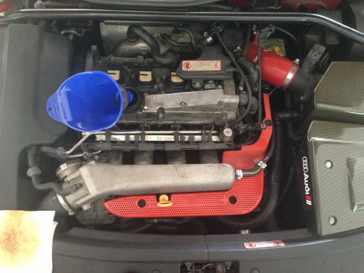 """You should know your engine-oil capacity if attempting a top-down oil change, but definitely know """"how much"""" before pouring the new stuff in!"""