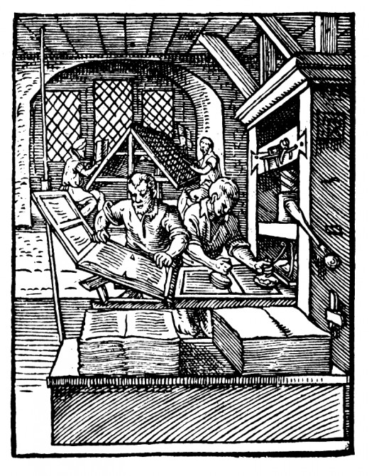 "A 1568 printing press. At the left in the foreground, a ""puller"" removes a printed sheet from the press. The ""beater"" to his right is inking the forme. In the background, compositors are setting type."