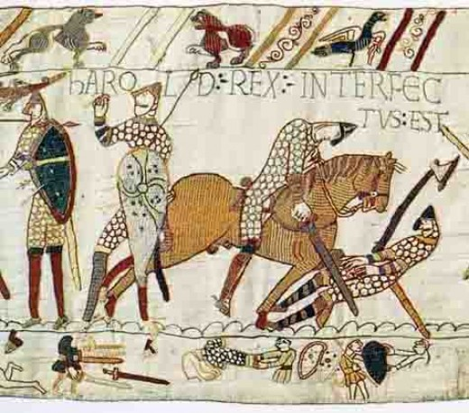 That fatal arrow in the Bayeux Tapestry commissioned by William's half-brother Odo, bishop of Bayeux - likely to have been executed by English women. Critics have called it a whitewash, that Harold was only wounded (blind-sided by wound dressing?)