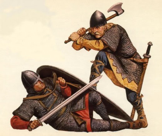One of Harold's huscarls is about to despatch a Norman foot-soldier - in spite of popular misconception few of them were Saxon, many were Danes or Anglo-Danes raised in former Danelaw England
