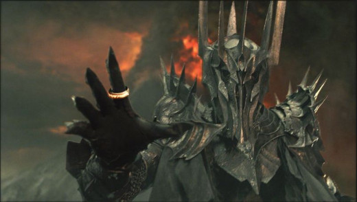 "Sauron unfortunately couldn't be heard as he said: ""Ok human, I've proven I'm the Lord of the  Bling! No hard feelings, eh? Let me help you up, to show my trust, I'll pull you up with my hand that has- ""yeeeeow! That was my BLING finger you Bi-otch!"