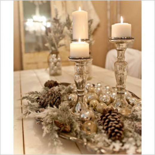 Pine cones and candles for a vintage look