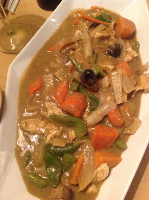 The Yellow Curry with Chicken. The milder of the two Curry offerings, but still quite hot!