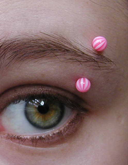 Eyebrow piercings are usually done on the side of the brow.