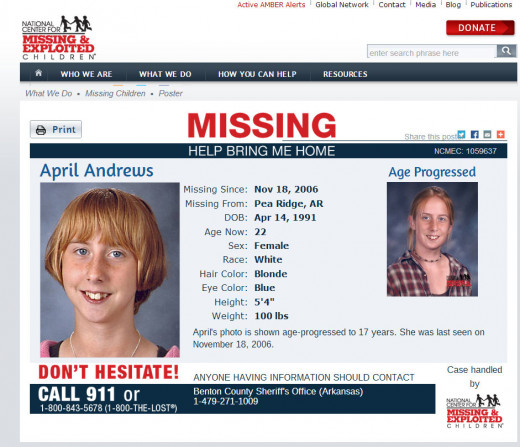 April Andrews, then and with age progression, missing since November 18, 2006 from Pea Ridge, Arkansas