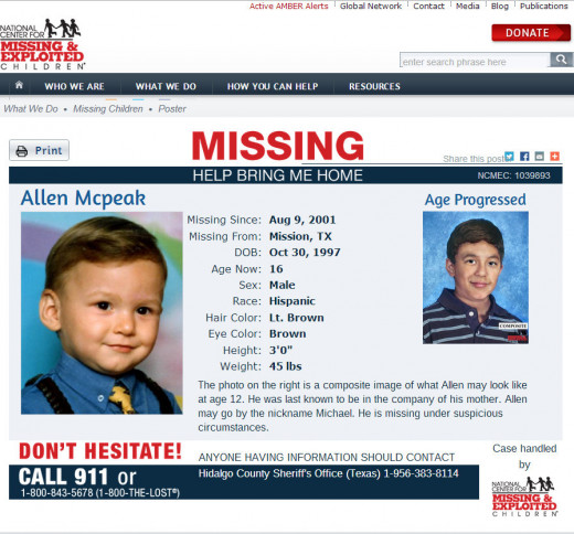 Allen McPeak, with age progression, missing since August 9, 2001