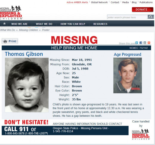 Thomas Gibson, missing since March 18, 1991 from Glendale, Oregon