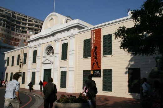 The front of the Slave Lodge at the top of Adderley Street. This building, one of the oldest in Cape Town (built in 1679), has a grim history but a bright present as the home to the South African Cultural History Museum