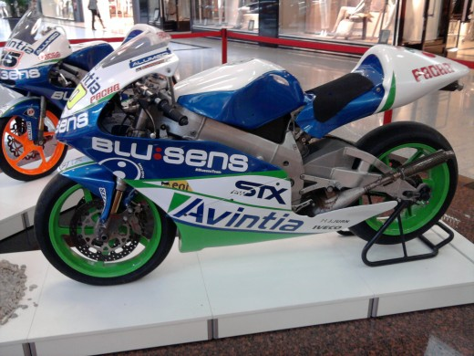 Suter Moto2 motorcycle of the Blusens Avintia team at the commercial center Alcampo in Mataró (Catalonia).