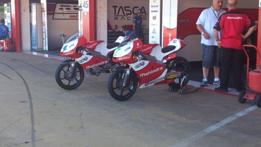 Mahindra Moto3 motorbikes at the Catalunya Grand Prix, Spain in 2013.