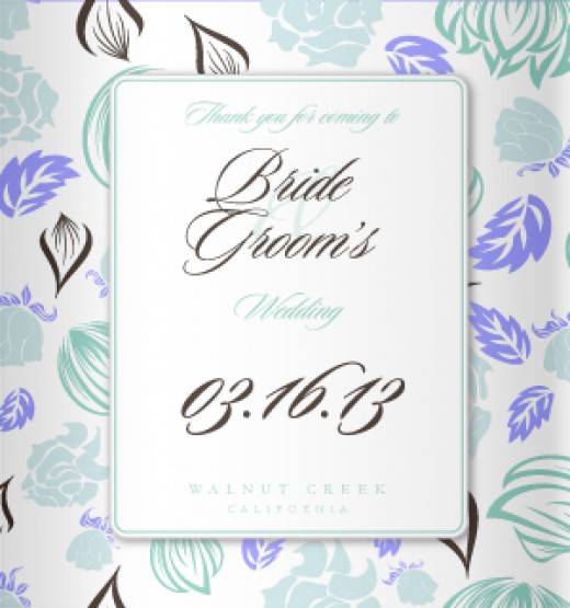 Pastel Blue and Purple Koozie design for your wedding.