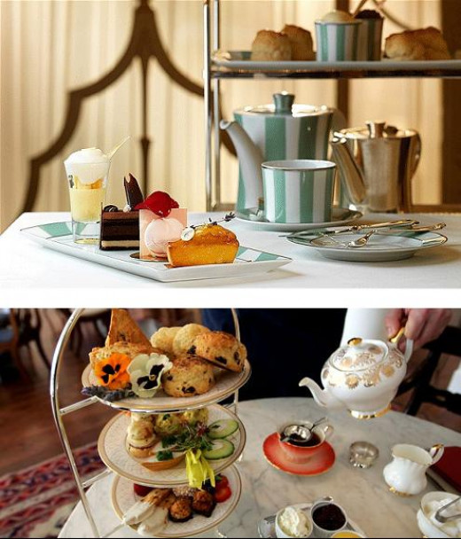 Above is London's Traditional Tea; Below is New York's High Tea