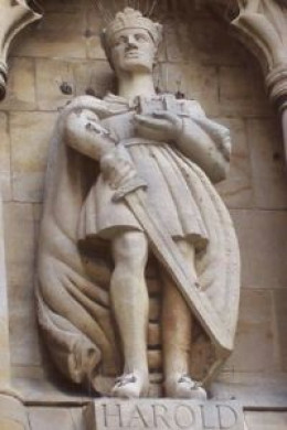 Contemporary statue of King Harold at Waltham abbey church, to the right of the main door at the SW corner