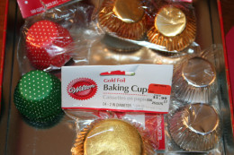 Baking cups come in different colors, foils, and designs.