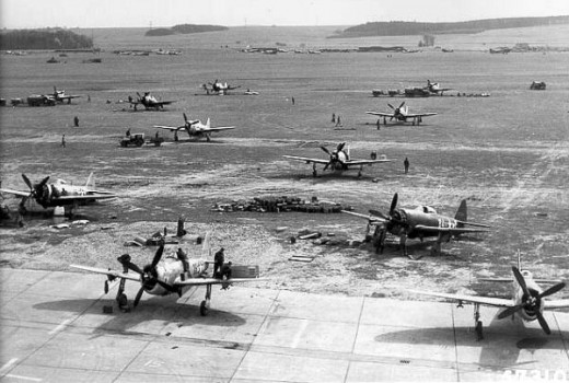 P-47Ds at an advanced landing ground in France.