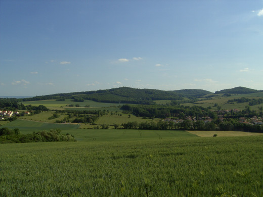 The landscape around the town of Corny.