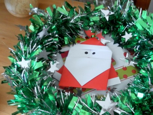 Origami Santa Claus Ornament
