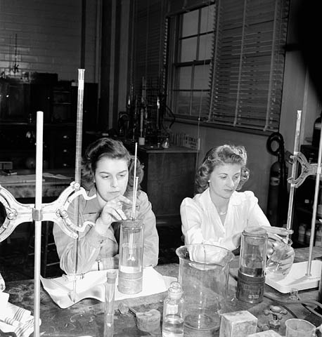 Because men had been drafted for the war efforts, women scientists played a central role in WWII's scientific discoveries, including the testing and mass-production of synthetic rubber.