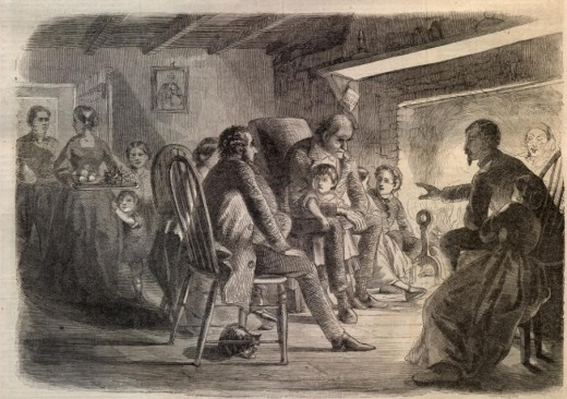 Illustration of a family gathered around the fire by a furloughed soldier