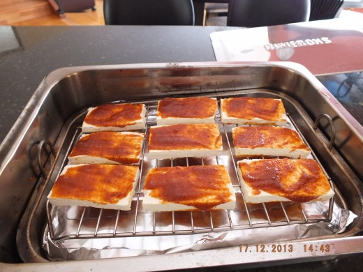 For this version of smoked tofu, I painted a layer of barbecue sauce on either side.