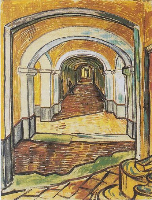 Corridor in Saint-Paul Hospital 1889 ~ Vincent Van Gogh