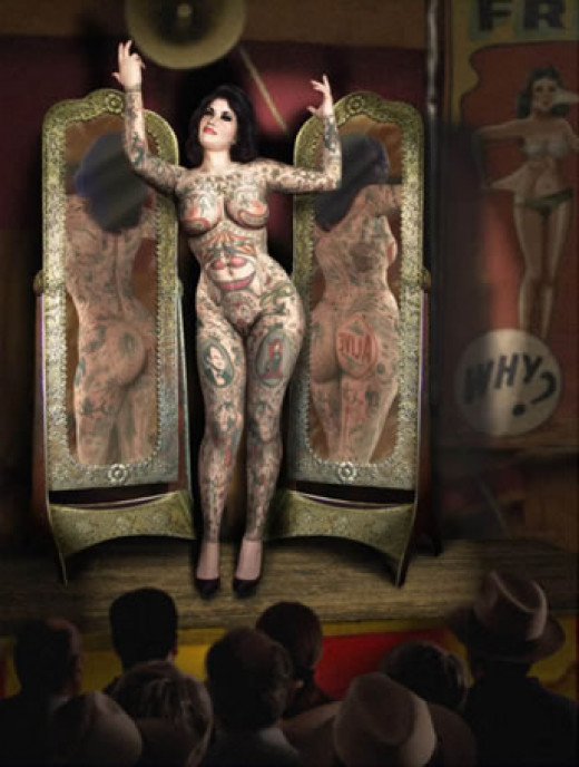 Naked girl shows to the people her body completely covered with tattoos.