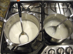 The pectin mixture is on the left; the syrup and sugar mixture is on the right.  Ready to turn on the heat! See the video below for the actual cooking process
