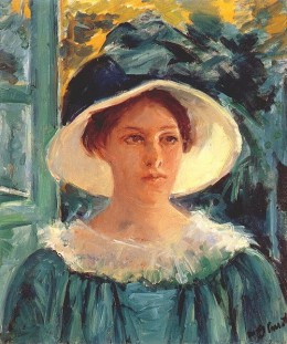 Girl in a Green Dress painted by Mary Cassatt